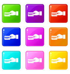 Hand holding a credit card icons 9 set vector