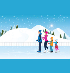 happy family skating on ice rink on cityscape vector image