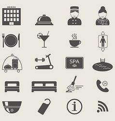 Hotel services icons Monochrome color Silhouette vector image vector image