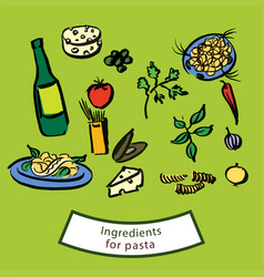 ingredients for pasta vector image