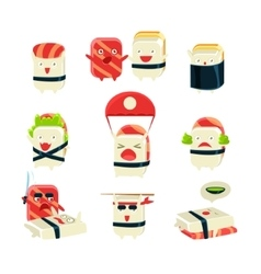 Japanese sushi man different activities vector