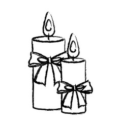Merry christmas candles bow decoration elegance vector