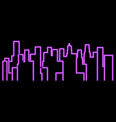 Neon city outline landscape megapolis vector