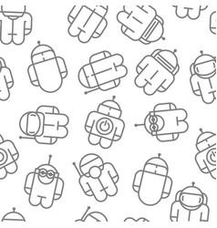 Original robot droid seamless pattern vector