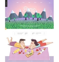 Picnic web template with lilac sky vector