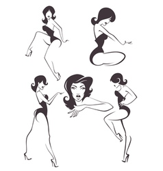 pin up girls vector image vector image