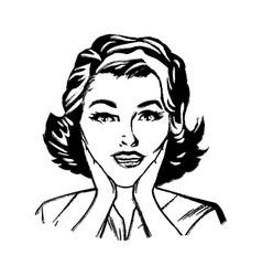 portrait woman pop art surprised expression sketch vector image