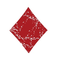 Red grunge diamonds card logo vector image