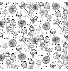 seamless pattern with fantasy mushrooms vector image