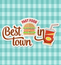 Vintage fast food badge banner or logo emblem vector