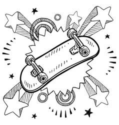 doodle pop skateboard vector image