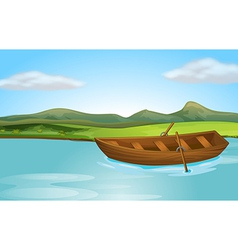 A river and a boat vector