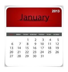 2013 calendar january vector
