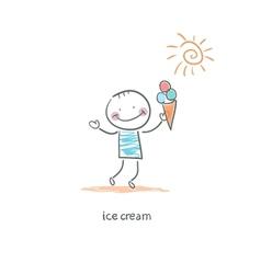 Man eating ice cream vector image