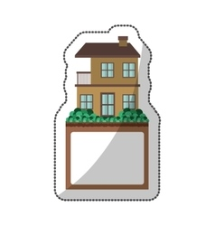 Sticker of apartment with two floors design and vector