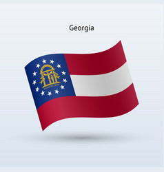 State of georgia flag waving form vector