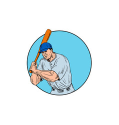 Baseball player holding bat drawing vector
