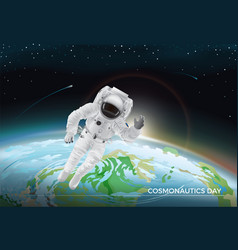 Festive card for cosmonautics day graphic design vector
