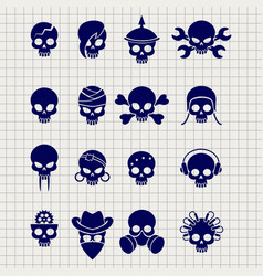 skull icons on notebook page vector image