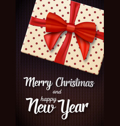 Marry christmas greeting card realistic gift box vector