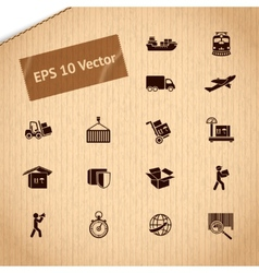 Logistic transportation service icons set vector