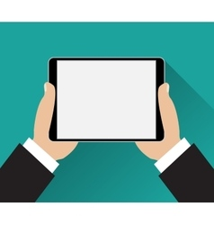 Hands holding black tablet computer vector
