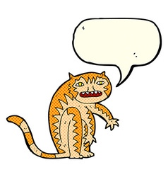 Cartoon tiger with speech bubble vector