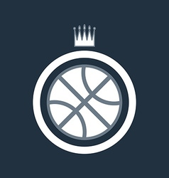 Basketball ball icon with crown vector