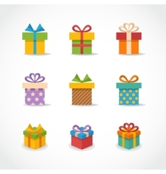 Gift box colorful icons vector
