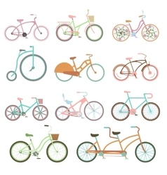Vintage bicycle set riding bike transport flat vector image