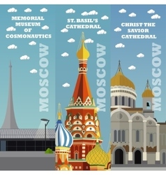 Moscow tourist landmark banners vector