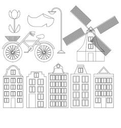 Amsterdam city flat line art Travel landmark vector image