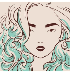 beautiful woman with long hair hand drawn vector image vector image