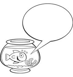 Cartoon fishbowl with a caption balloon vector