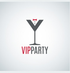 Cocktail party glass logo vip party design vector