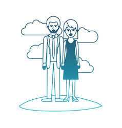 Couple in degraded blue silhouette scene outdoor vector