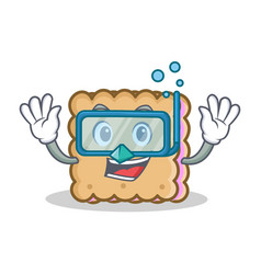Diving biscuit character cartoon style vector