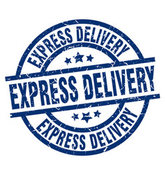 Express delivery blue round grunge stamp vector
