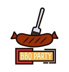 Grilled sausage on barbecue fork thin line symbol vector