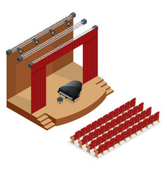 Isometric concert stage and black grand piano at vector
