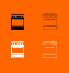 kitchen stove black and white set icon vector image vector image