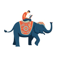 Man on elephant vector