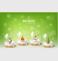 merry christmas santa claus snowman and reindeer vector image