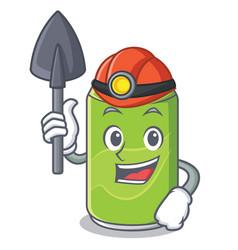 Miner soft drink character cartoon vector