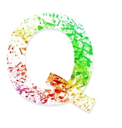 Music theme grungy font letter q vector
