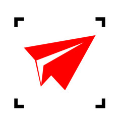 Paper airplane sign red icon inside black vector