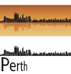 Perth skyline in orange background vector image
