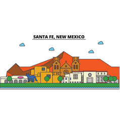 santa fe new mexico city skyline architecture vector image vector image