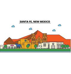 Santa fe new mexico city skyline architecture vector