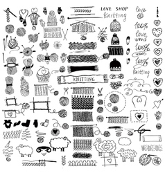 Set of knitting and crafts vector image vector image